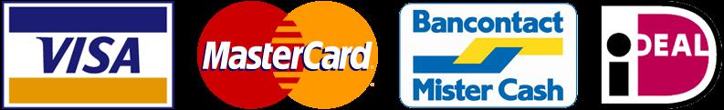 Betaling met Visa, MasterCard, Bancontact, Mister Cash, iDEAL of PayPal