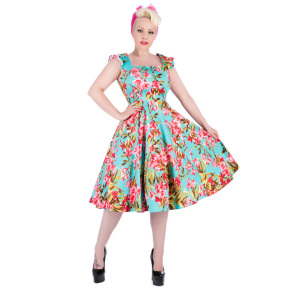 HR9619-azuur-blauw-retro-kleedje-roze-bloem-voor