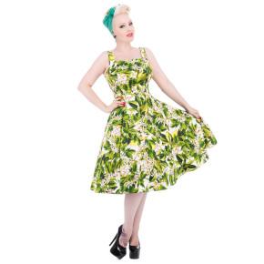 HR9741-groen-wijd-jurkje-witte-bloemen-voor