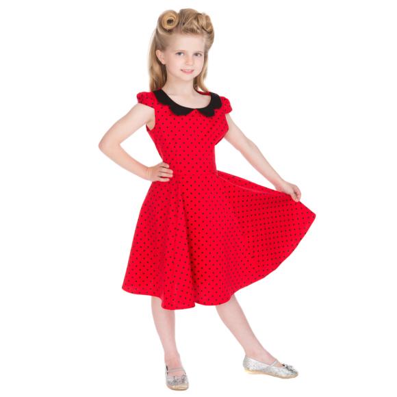 HR4086-Red-Black-Small-Polka-Dot-Dress-kids