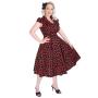 HR3166-zwart kersen jurk