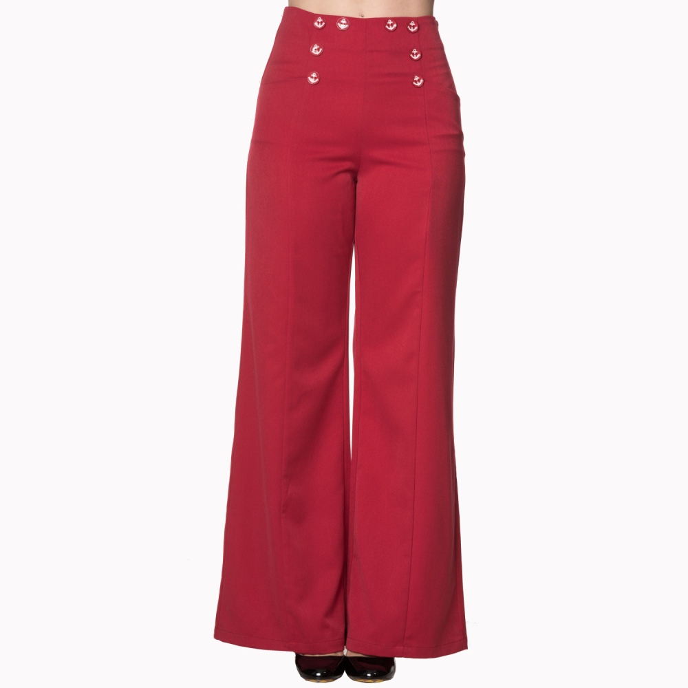Ongekend Rode broek met hoge taille afgewerkt met anker knopen – Funni.be EL-49
