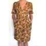 Dress 553 - Cute Tea Dress - Mustard Winter Roses - MODEL