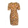 Dress 553 - Cute Tea Dress - Mustard Winter Roses - REAR