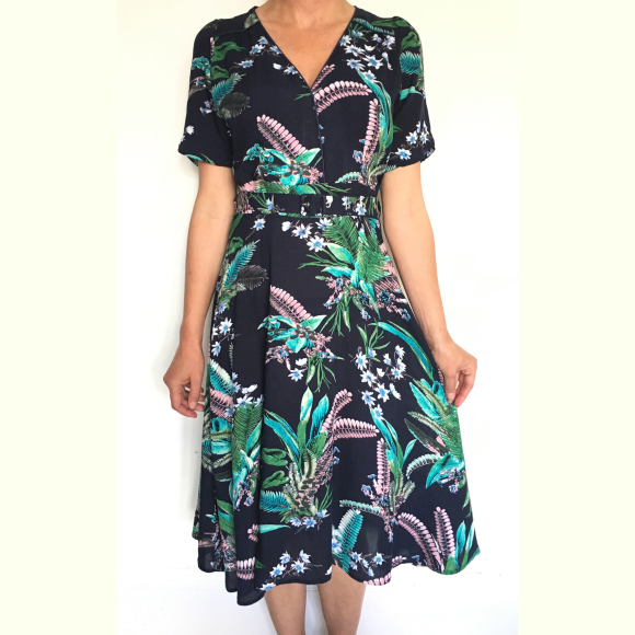 Dress 428 - Wrap Up Dress - Navy Lily of the Valley - MODEL