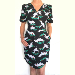 Dress 551 - Crossover Tea Dress - Black Crane Scene - MODEL