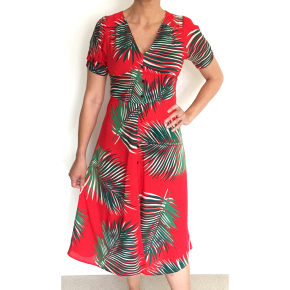 Dress 558 - Button Up Midi Dress - Red Autumn Fern - MODEL