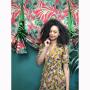 Dress 553 - Cute Tea Dress - Mustard Vintage Flowers
