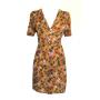 Dress 553 - Cute Tea Dress - Mustard Winter Roses - FRONT