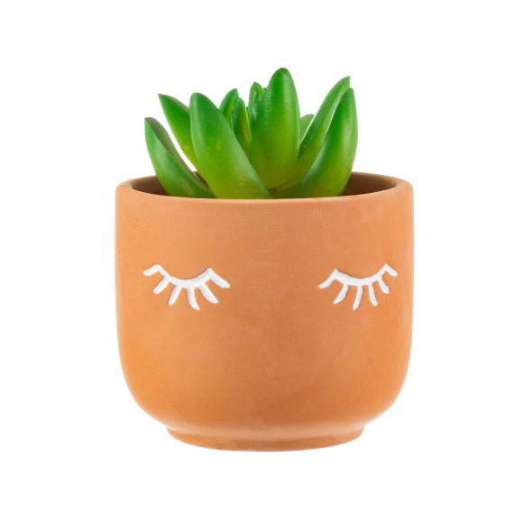 Mini Eyes Shut Terracotta Planter 2